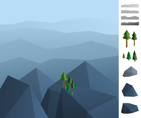 two dimensional shape: Geometric illustration of rock mountains landscape Illustration