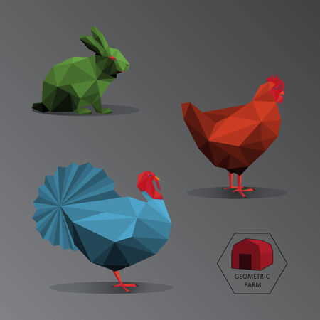 fleecy: Illustration of geometric farm animals made of triangle polygons