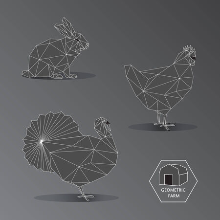 fleecy: Illustration of geometric farm animals made of triangle polygons outline