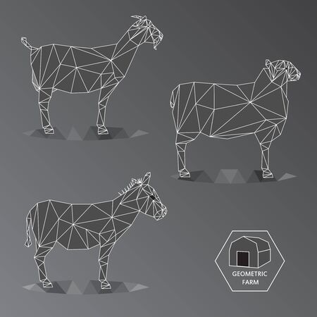 fleecy: Grey scale illustration of geometric farm animals made of triangle polygons,wire outline Illustration