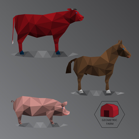 fleecy: Colour full illustration of geometric farm animals made of triangle polygons, set of big livestock like bull, horse, and hog