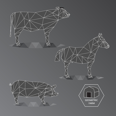 fleecy: Grey scale illustration of geometric farm animals made of triangle polygons, wire outline, set of big livestock like bull, horse, and hog