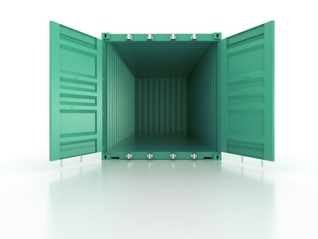 shipping container: Bright blue clean metal and opened shipping container on white background - photorealistic 3d render