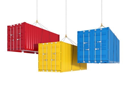 cargo container: Three metal freight shipping containers on the hooks at white background - photorealistic 3d perspective render witch cutting path
