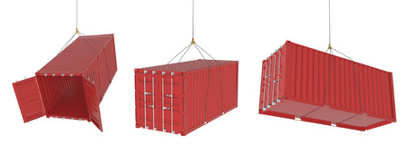 cargo container: Set of metal freight shipping containers on the hooks in different possitions, red colour - photorealistic 3d perspective render, white background