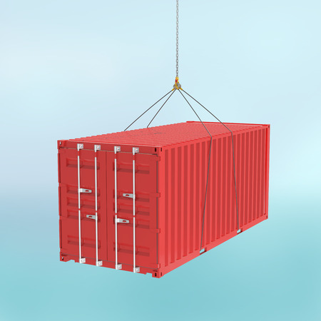 lift lock: Red metal freight shipping container on the hook at sky background - photorealistic 3d perspective render witch cutting path