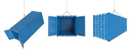 photorealistic: Set of metal freight shipping containers on the hooks in different possitions, blue colour - photorealistic 3d perspective render, white background
