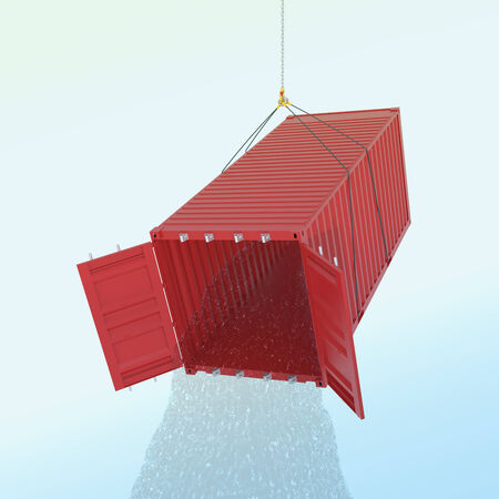 wather: Import consumpcion problem concept - red metal freight shipping container on the hook with wather throw fro inside - photorealistic 3d perspective render