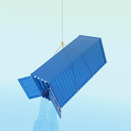 wather: Import consumpcion problem concept - blue metal freight shipping container on the hook with wather throw inside - photorealistic 3d perspective render Stock Photo