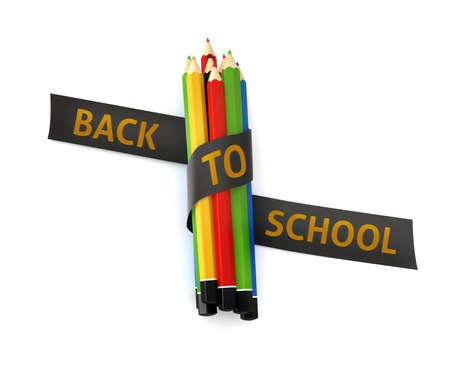 Welcome back to school quote embroidered on black ribbon on colorful crayons - illustration concept isolated witch cutting path illustration