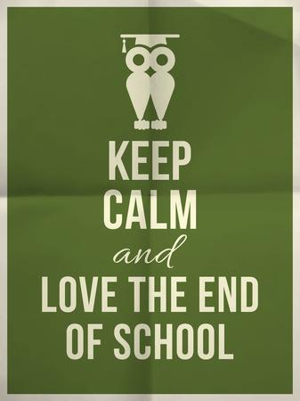 保持冷静,热爱学校设计在深绿色的折叠纸纹理的排版报价与猫头鹰和框架