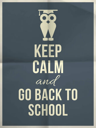 fold back: Keep calm and go back to school design typographic quote on dark blue folded paper texture with owl and frame