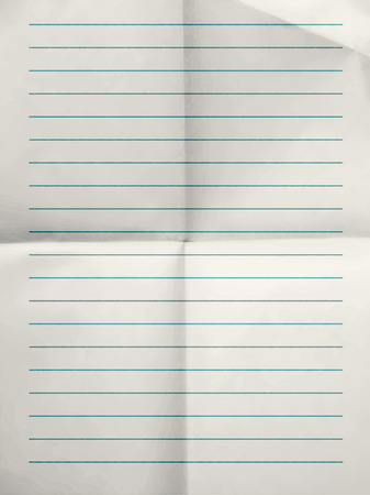 college ruled: Old sheet of blue lined paper background folded for four - illustration Stock Photo