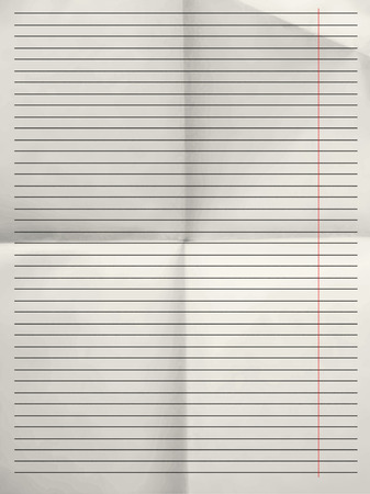 college ruled: Old sheet of grey lined paper background with red margin folded for four - illustration
