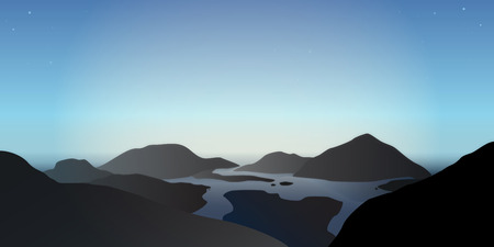overlook: Illustration of a misty morning in beautiful blue mountains at delta of a lake river