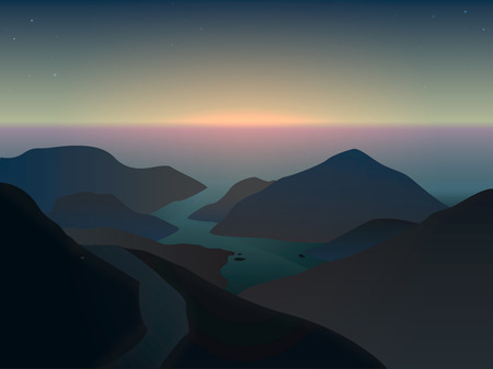 overlook: Illustration of a misty sunrise in beautiful blue mountains at the ocean in delta of river