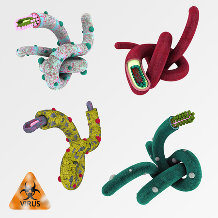 microbiology: Colorful render illustration set of viruses like ebola - isolated on bright  Stock Photo