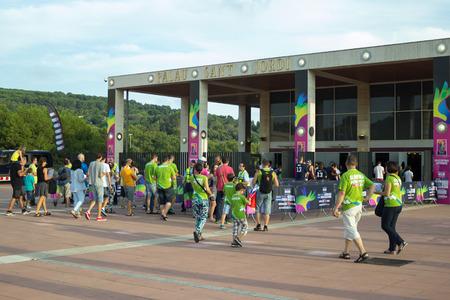 worldcup: BARCELONA - SEPTEMBER 6, 2014 - Entrance to stadium before match Round of 16 Basketball Worldcup, Slovenia vs Dominicana Republic Basketball Worldcup, Palau Sant Jordi stadium, Barcelona, Spain.