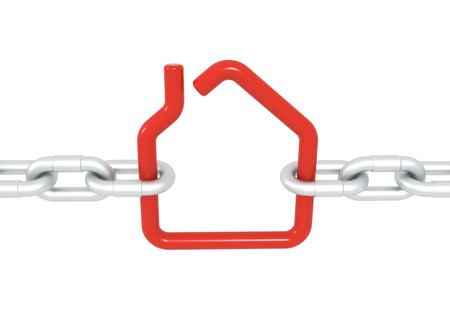 blocked: Red house symbol blocked with metal chains - 3d illustration render isolated with clipping path
