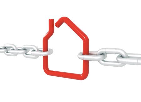 クリッピング パスで分離された 3 d 図をレンダリング金属鎖で封鎖されて赤い家のシンボル
