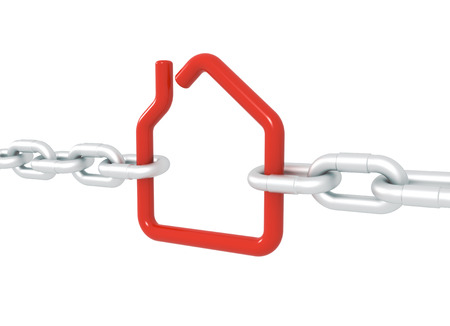 Red house symbol blocked with metal chains - 3d illustration render isolated with clipping path