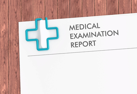 Medical examination report document template with cross paper clip on wood desk