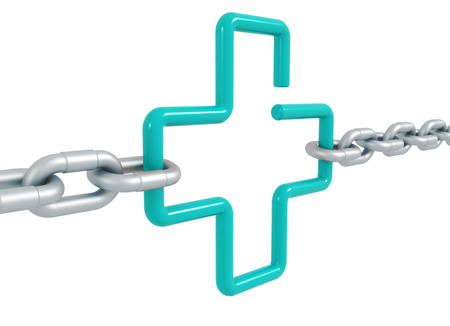 Turquiose link cross symbol locked with metal chains - 3d front illustration render isolated