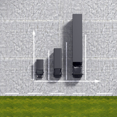 detailed view: Business logistic transportation service growth background graphs illustration with black transport cars and parking infrastructure