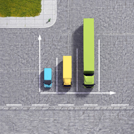 detailed view: Business logistic transportation service growth background graphs illustration with colourful transport cars types and road infrastructure Stock Photo