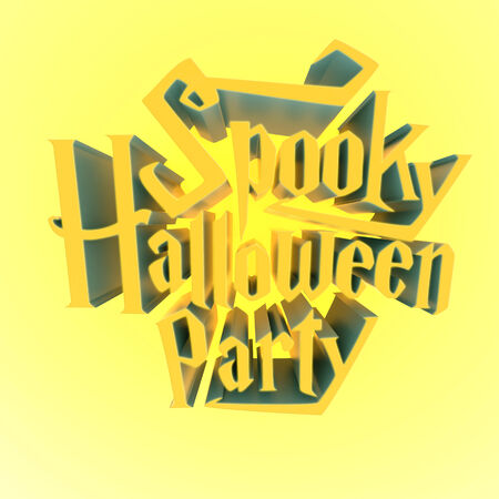 Spooky Halloween Party glowing suny letters 3d for poster template or Ad element on yellow light glowing background Stock Photo