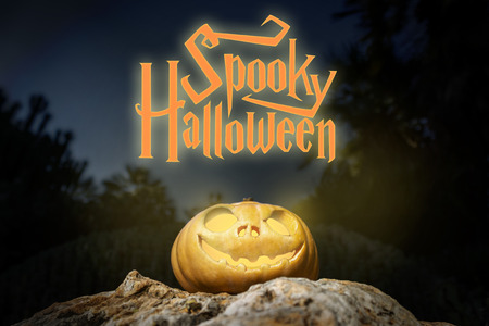 rock bottom: Spooky Halloween warm neon and scary pumpkin jack-o-lantern with a smile on a rock from bottom perspective template illustration from the darkness