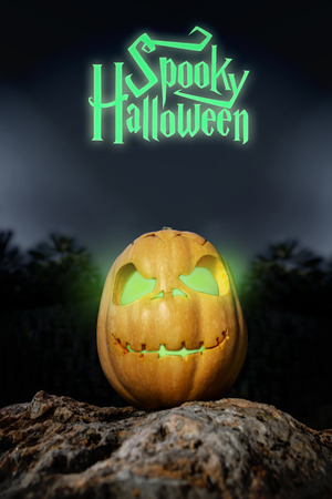 rock bottom: Spooky Halloween neon and scary pumpkin jack-o-lantern with a smile on a rock from bottom perspective template illustration from the darkness