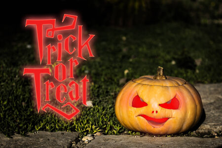 scary pumpkin: Halloween trick or treat scary pumpkin jack-o-lantern with a smile on dark green grass