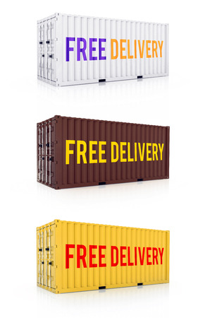 container freight: Free delivery quotes on white, brown and yellow clean metal freight closed shipping container on white background - Hi-res photorealistic exclusive 3d render Stock Photo