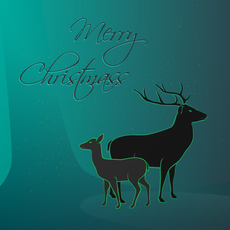 wild venison: Merry Christmas wishes from wild magic forest, deer and venison - illustration gift card Illustration