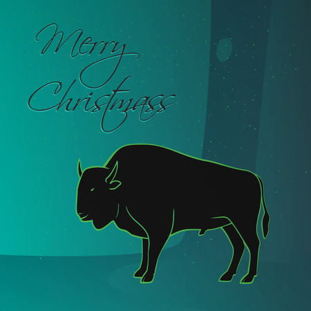 skylight: Merry Christmas wishes from wild magic forest, bison - illustration gift card