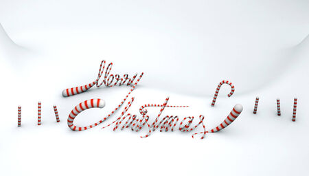 Merry Christmas Candy Quotes On Snow Land Background 3d Render ...