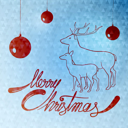 merry christmas quotes card with deer and christmas balls hanging on wires on snowy triangle