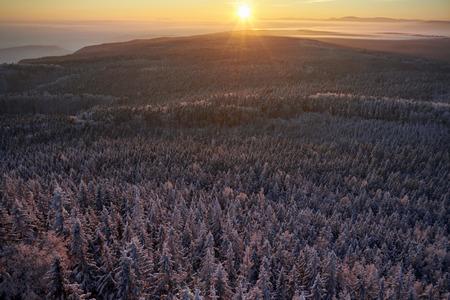 sudetes: Winter sunrise up the mountain forest in snow. Sudetes, Poland, Europe. Amazing world.