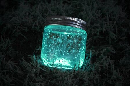 Close blue light glowing jar on moss in the dark of the night. Фото со стока