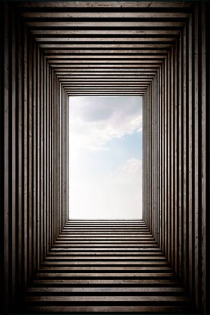 underworld: Wood stripped tunnel with sky view on the end, vertical. Stock Photo