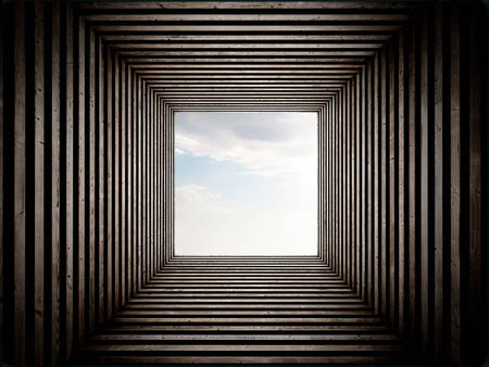 tunnel view: Wood stripped tunnel with sky view on the end. Stock Photo