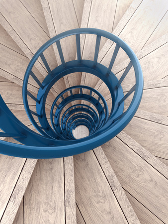 Spiral wood stairs with blue painted balustrade
