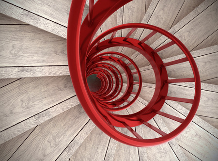 Spiral wood stairs with red painted balustrade