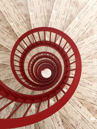 spiral staircase: Spiral wood stairs with red painted balustrade, vertical Stock Photo