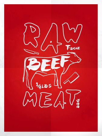 raw beef: Raw beef meat hand drawn typography red poster Illustration