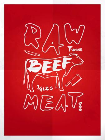 rindfleisch roh: Raw Rindfleisch handgezeichnete Typografie roten Plakat Illustration