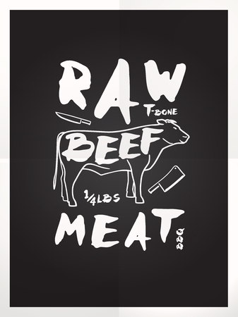 raw beef: Raw beef meat hand drawn typography blackboard poster Illustration
