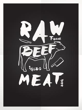 t bone steak: Raw beef meat hand drawn typography blackboard poster Illustration