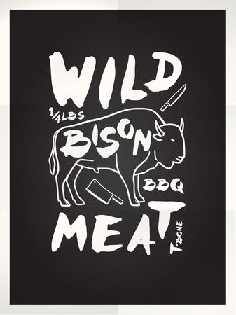 t bone steak: Wild bison meat hand drawn typography blackboard poster